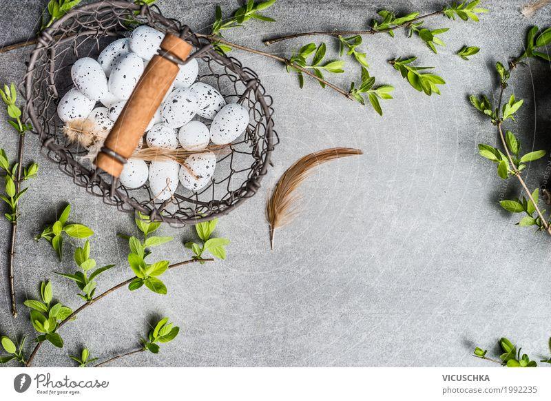 Korb mit Eiern und Frühlingszweige Natur Pflanze grün Blatt gelb Innenarchitektur Stil Feste & Feiern Design Häusliches Leben liegen Dekoration & Verzierung