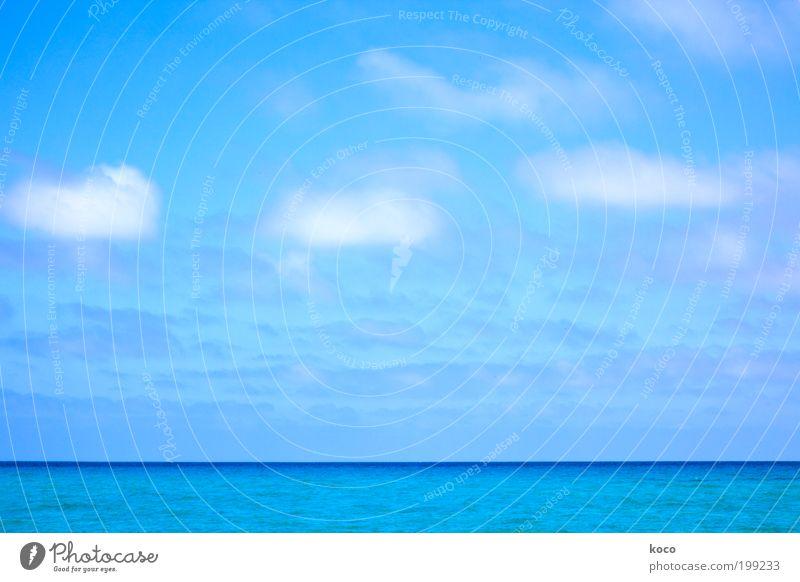 Meer sehn Wasser Himmel weiß Sonne Meer blau Sommer Strand Ferien & Urlaub & Reisen Wolken Ferne Freiheit Landschaft Wellen Horizont Schifffahrt