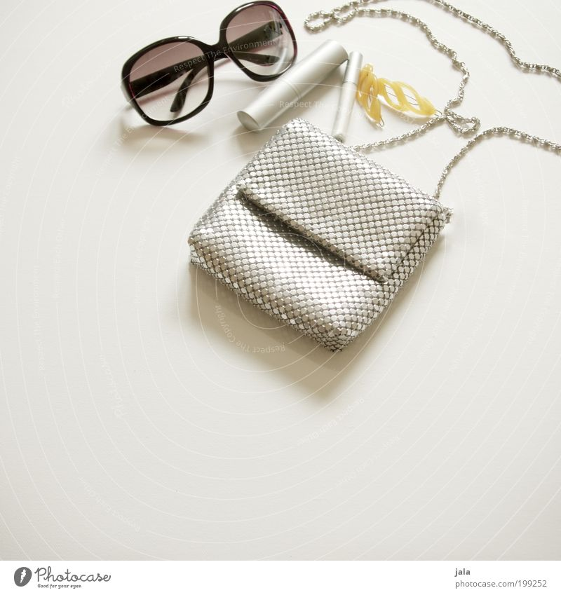accessoires schön feminin Stil Mode glänzend Design elegant Lifestyle Schmuck Schminke Kosmetik silber Tasche Sonnenbrille Brille trendy