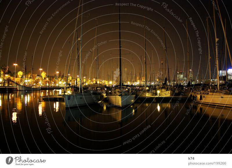 Port Vell at Night Wasser Meer Ferien & Urlaub & Reisen ruhig elegant Ziel liegen Hafen festhalten Reichtum Schifffahrt Segel Segelboot Jacht Segelschiff