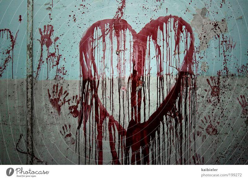 Mein Herz so weiß blau Hand rot Liebe Wand Graffiti Mauer Kunst Innenarchitektur Angst außergewöhnlich Dekoration & Verzierung bedrohlich Vergänglichkeit