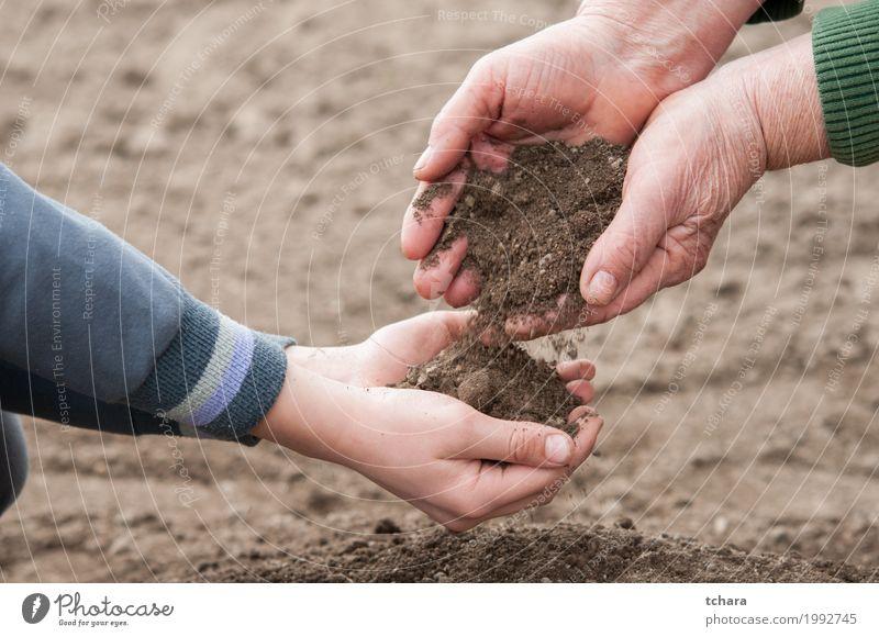 Rette die Natur Kind Frau Pflanze Hand Erwachsene Umwelt Leben natürlich Garten braun Erde dreckig Wachstum Boden Jahreszeiten