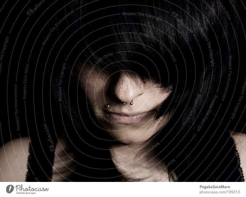 hair 2 Mensch Jugendliche schön schwarz dunkel feminin Haare & Frisuren Kopf Denken Stimmung Erwachsene Design Lifestyle Schutz Verzweiflung Idee