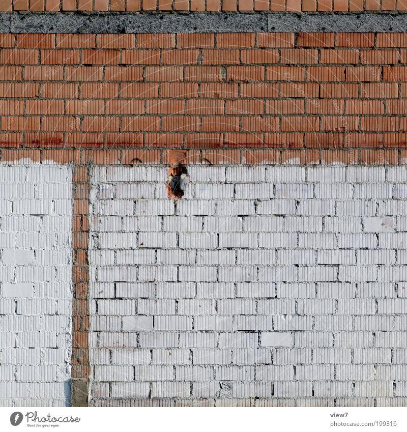 Ziegelsteine Haus Mauer Wand Fassade Stein Beton Linie Streifen alt dreckig dunkel einfach Billig kalt trist einzigartig entdecken Qualität Vergänglichkeit Zeit