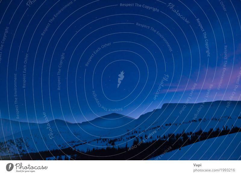 Nacht in den Bergen Himmel Natur Ferien & Urlaub & Reisen blau weiß Baum Landschaft rot Wolken Winter dunkel Berge u. Gebirge schwarz Schnee rosa hell