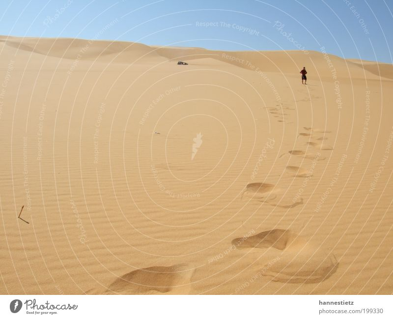 Spuren im Sand Mensch Natur Ferien & Urlaub & Reisen Sommer Einsamkeit Erwachsene Ferne Landschaft Freiheit Sand Wärme gehen wandern maskulin Abenteuer Tourismus