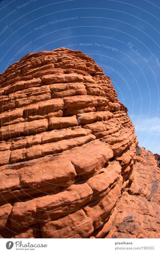 e[rot]iert Natur alt Himmel blau Sommer Ferien & Urlaub & Reisen Berge u. Gebirge Stein Wärme Sand dreckig Umwelt groß Felsen