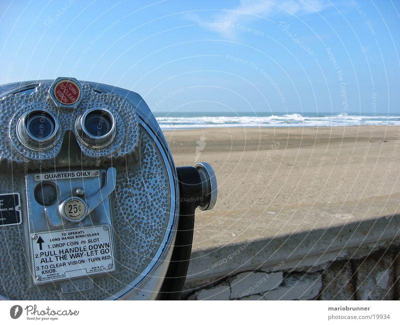 san_francisco_beach_01 Strand Meer Pazifik San Francisco Mauer Uferpromenade Teleskop Fernglas Aussicht Kalifornien USA Ferne Horizont Sandstrand Pazifikstrand