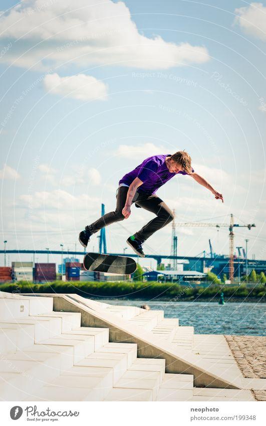 BS Flip-o-mat elegant Freizeit & Hobby Spielen Sport Skateboarding maskulin Junger Mann Jugendliche 1 Mensch Natur Wasser Himmel Wolken Flussufer Hamburg Hafen