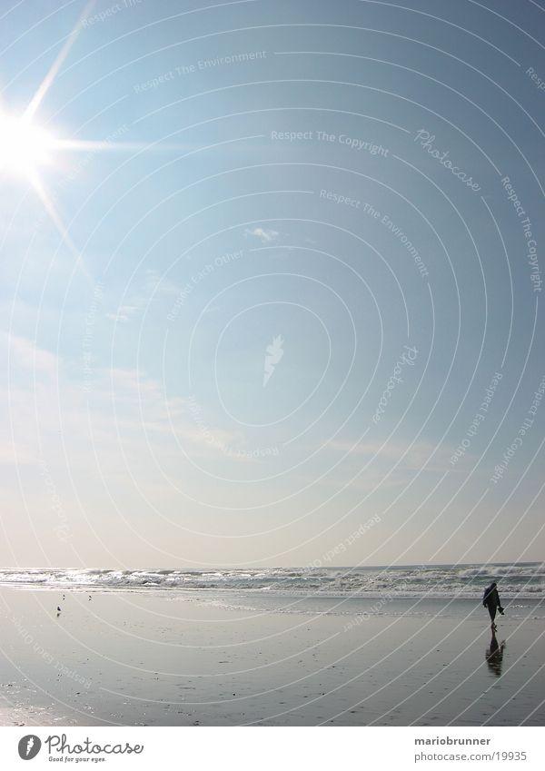 san_francisco_beach_02 Sonne Meer Strand Einsamkeit Erholung Sand Wellen Horizont USA Spaziergang gehen Fußgänger Brandung blenden Blauer Himmel himmelblau