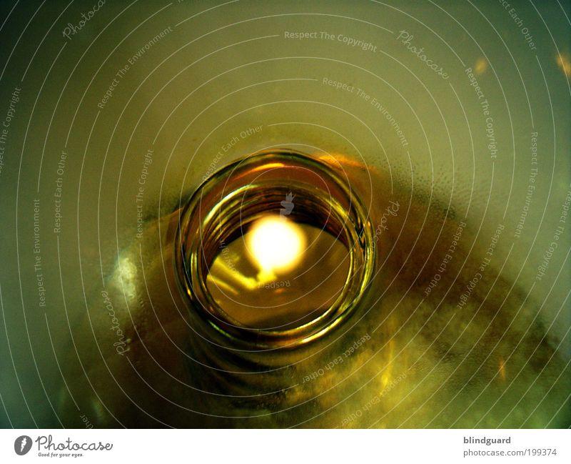 Message In A Bottle alt grün gelb glänzend Glas gold Getränk trinken Flasche Alkohol Glätte Lichtpunkt