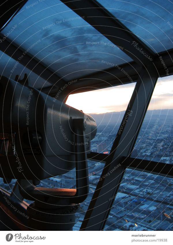 stratosphere_tower_02 Las Vegas Stratosphere Las Vegas Sonnenuntergang Nevada Spielkasino Hotel Teleskop Fernglas Aussicht Turm Niveau Himmel hoch