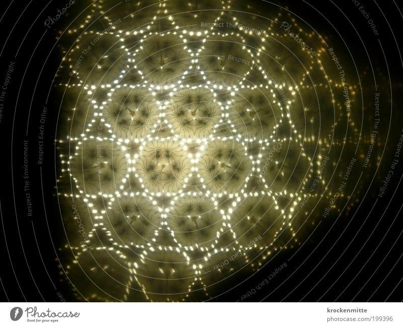 unterm Sternenzelt Lampe Kaleidoskop grün Wiederholung Muster Pattern Spiegelbild Beleuchtung Stern (Symbol) Linie Licht Lichterkette Punkt Leuchtpunkt