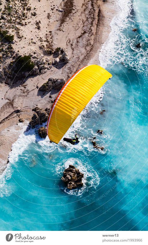 Paragleiten in Lefkada Natur blau Sommer Wasser Landschaft Umwelt Küste Glück Schwimmen & Baden fliegen wandern Wellen Luft Schönes Wetter Unendlichkeit türkis