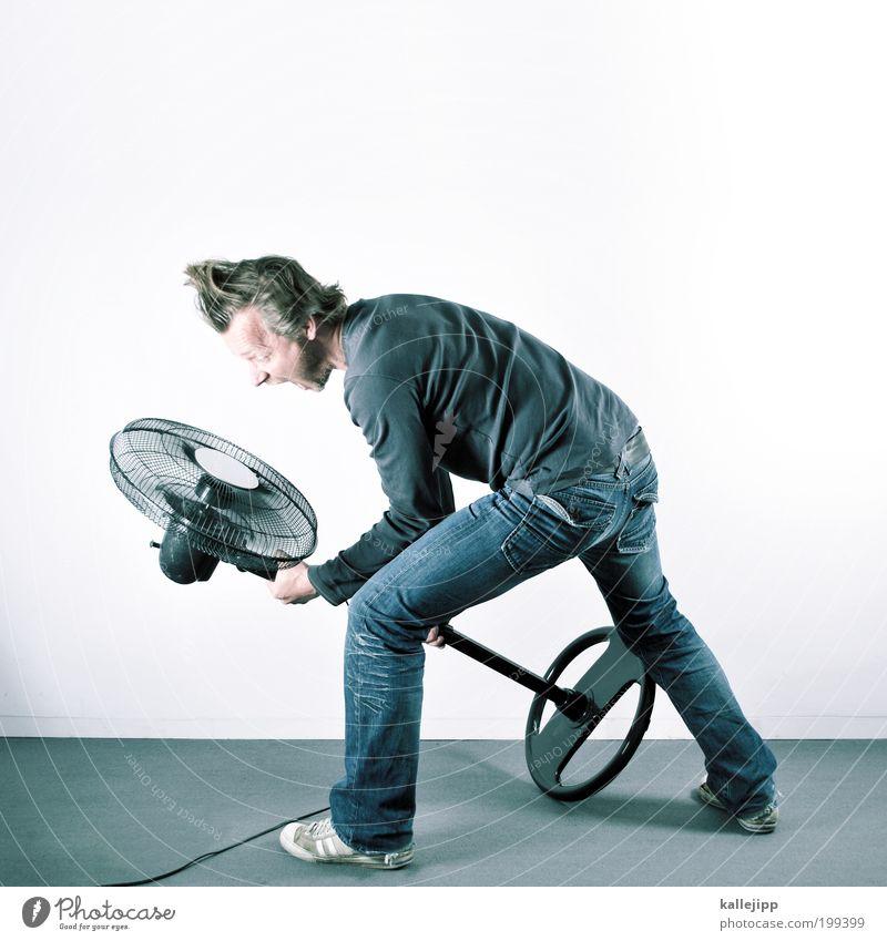 sturmfrisur Mensch Mann Erwachsene Haare & Frisuren Wärme Luft Beine hell Arme maskulin Energiewirtschaft Lifestyle Häusliches Leben heiß schreien drehen