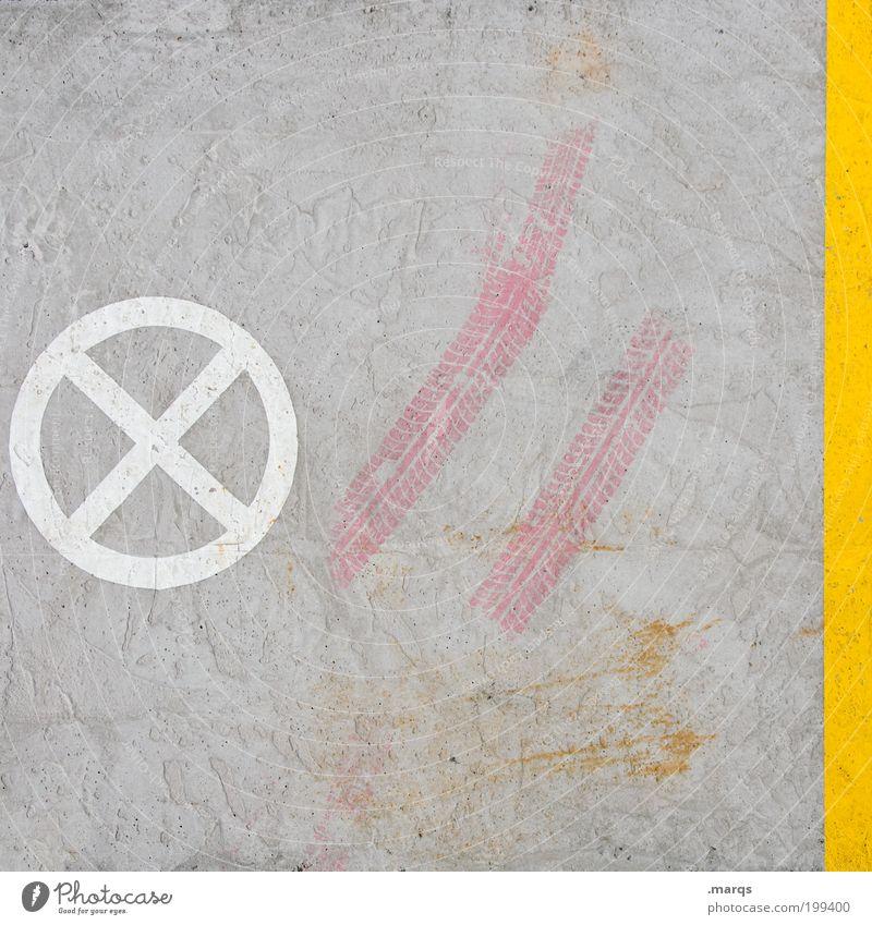 Zone weiß gelb grau Wege & Pfade Linie rosa Beton Verkehr außergewöhnlich fahren Zeichen Verkehrswege skurril beweglich Hinweis Gesetze und Verordnungen