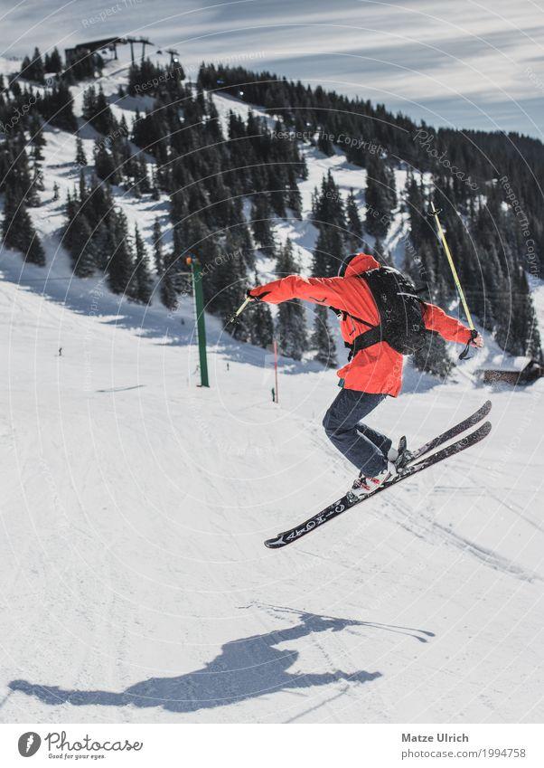 Jib Freude Freizeit & Hobby Winter Schnee Winterurlaub Berge u. Gebirge Sport Wintersport Sportler Skifahren Skier Snowboard Sportstätten Skipiste Junger Mann