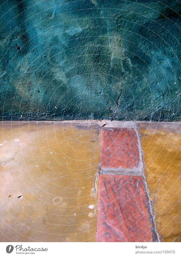 Organisch schön blau rot gelb Wand Stein Mauer Stimmung Kunst Architektur ästhetisch Boden Bodenbelag Streifen Innenarchitektur