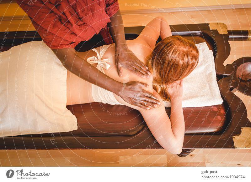 Massage Mensch Hand Erholung ruhig Leben Gesundheit Gesundheitswesen Zufriedenheit Rücken Wellness Wohlgefühl Liege harmonisch Indien Sinnesorgane Alternativmedizin