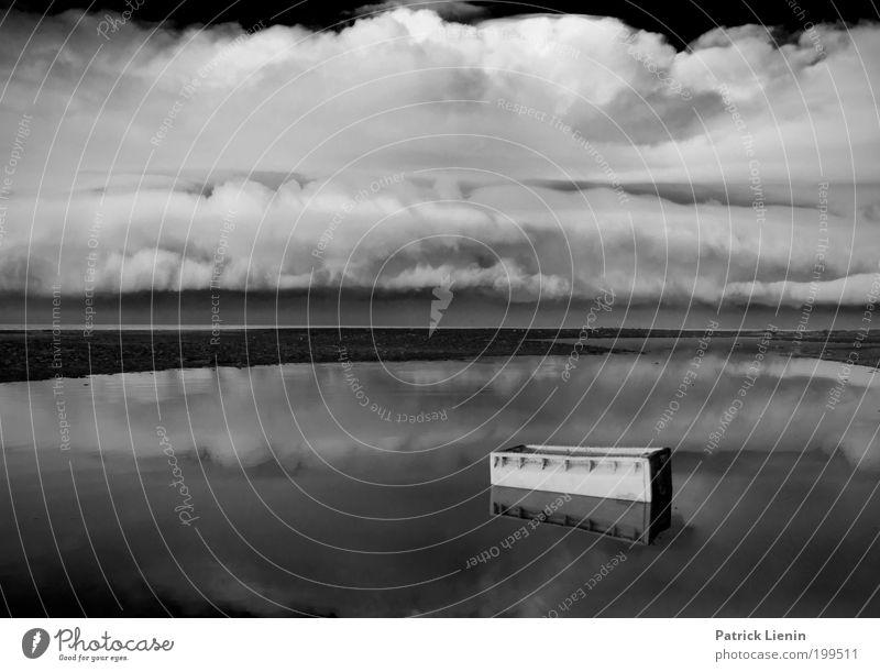 Treibgut Umwelt Urelemente Wasser Wolken Gewitterwolken Klima schlechtes Wetter Unwetter Wind Regen außergewöhnlich Unendlichkeit nass trashig trist schwarz