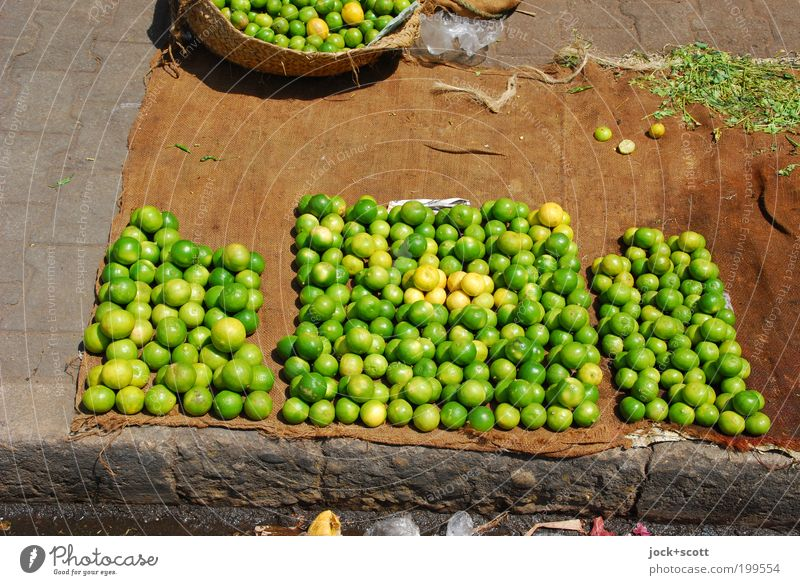 fairer Handel grün gelb Wege & Pfade hell Lebensmittel liegen Ordnung Frucht frisch Ecke einfach rund viele rein Bürgersteig Afrika