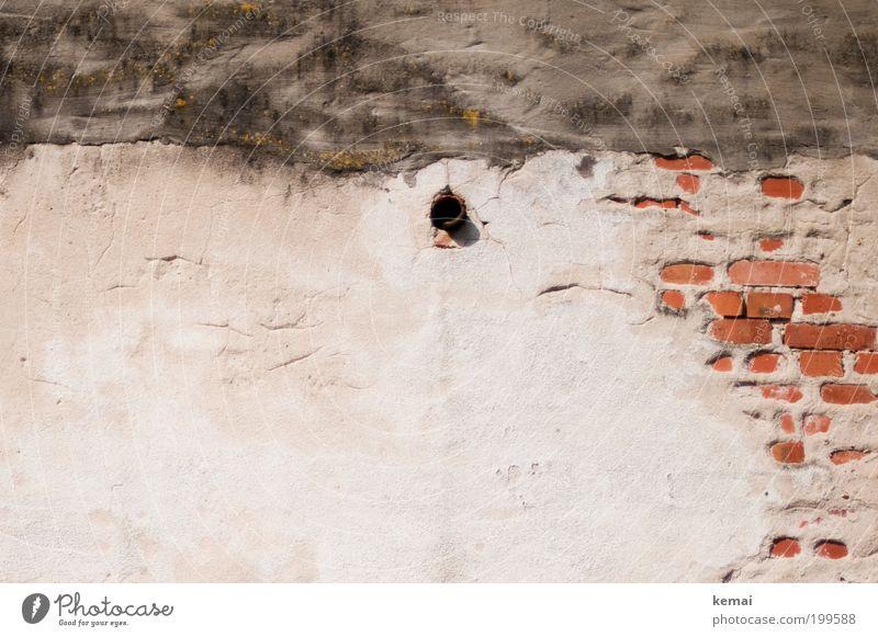 Abfluss Dorf Haus Bauwerk Gebäude Mauer Wand Fassade Backstein Abflussrohr Beton Betonwand alt kaputt trashig grau rot weiß Vergänglichkeit Wandel & Veränderung