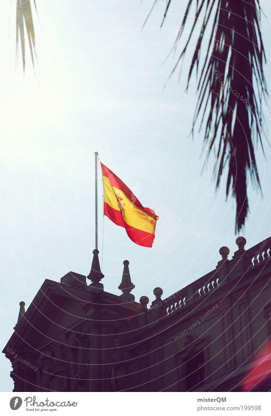 Viva Espana. rot Ferien & Urlaub & Reisen gelb Wind ästhetisch Fahne Kultur Vergangenheit Spanien Barcelona Stolz wehen Silhouette Konsulat Palmenwedel Städtereise