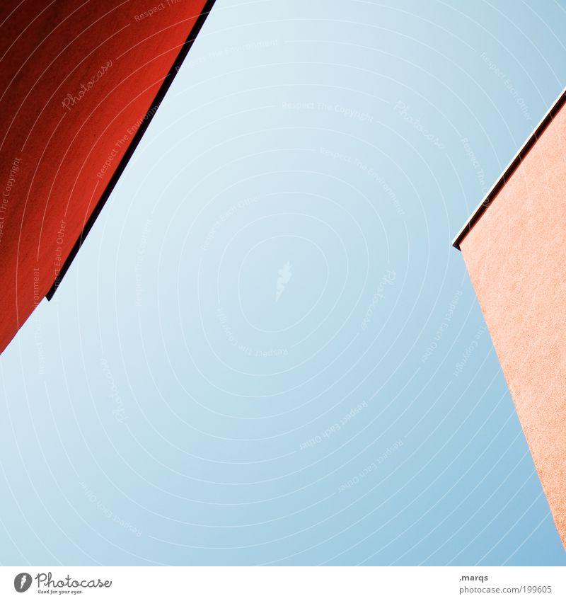 / < blau rot Haus Gebäude Architektur Baustelle Häusliches Leben Grafik u. Illustration Perspektive eckig minimalistisch Produktion Wolkenloser Himmel