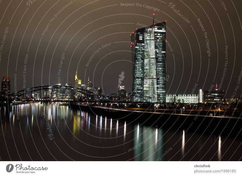 EZB Frankfurt in der Nacht, ECB, BCE, ezb, ecb, bce Büro Wirtschaft Industrie Geldinstitut Stadtzentrum Skyline Haus Hochhaus Bankgebäude kalt