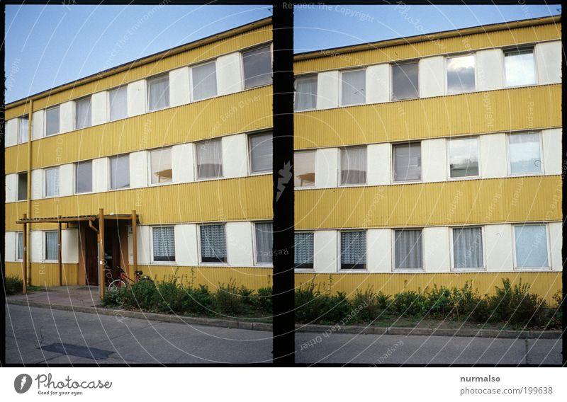 da wohnt er Natur Stadt Haus Fenster Wohnung Design Umwelt Lifestyle authentisch Häusliches Leben streichen Verfall DDR skurril bizarr Block