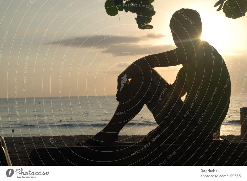 Genießen maskulin Mann Erwachsene 18-30 Jahre Jugendliche Sand Wasser Sonnenaufgang Sonnenuntergang Sommer Meer heiß Farbfoto Außenaufnahme Dämmerung Silhouette