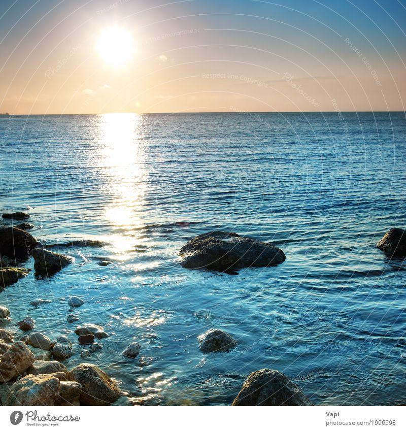 Schöner Seesonnenuntergang Himmel Natur Ferien & Urlaub & Reisen blau Sommer Farbe Wasser weiß Sonne Landschaft Meer rot Wolken Strand schwarz gelb