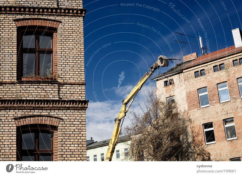 [HAL] Neuanfang Himmel Stadt Haus Leben Wand Tod Fenster Mauer Architektur planen Fassade Zukunft Wandel & Veränderung Baustelle Häusliches Leben Vergänglichkeit