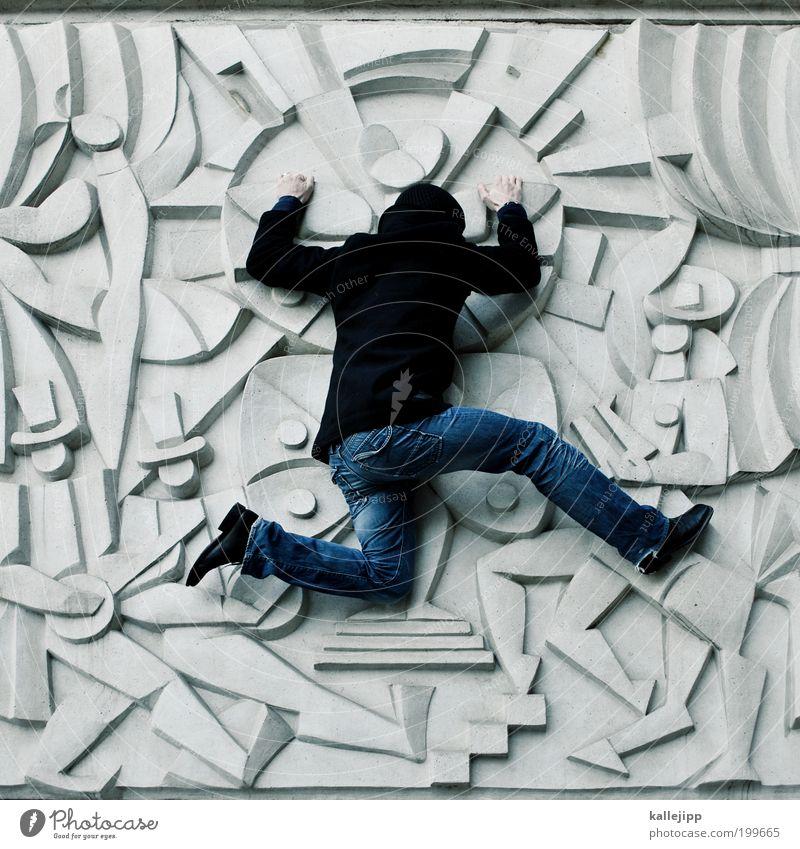 mr. curiosity Mensch Mann Erwachsene Leben Architektur Kunst maskulin Bekleidung Kultur Jeanshose Klettern Gemälde rennen Theaterschauspiel Jacke Mütze