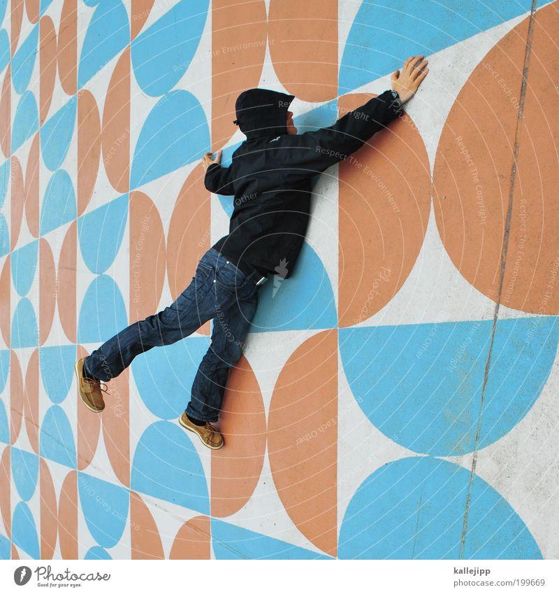 wonderful dreaming Mensch Mann Erwachsene Leben Wand Architektur Mauer Kunst orange maskulin Platz Dekoration & Verzierung retro Klettern Muster krabbeln