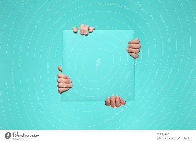 FINGERTHING V blau Hand Freude lustig Stil Spielen Kunst Business Design Kraft Erfolg Finger Papier Studium trendy Vertrauen