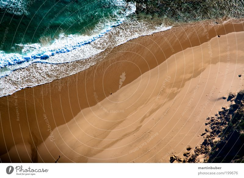 küstenlinie ruhig Ferien & Urlaub & Reisen Strand Natur Sand Wasser Schönes Wetter Wellen Küste Meer schön gelb grün Romantik Zufriedenheit Erholung Idylle