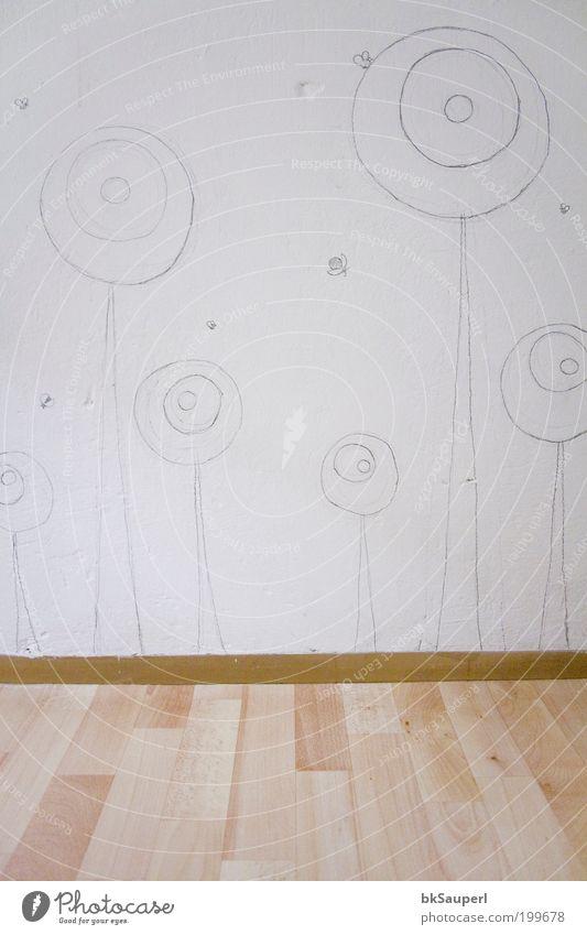 Wandblumen Freizeit & Hobby Dekoration & Verzierung Kinderzimmer Kunst Gemälde Blume Blüte Holz Ornament Linie zeichnen Wachstum rund grau weiß Kreativität