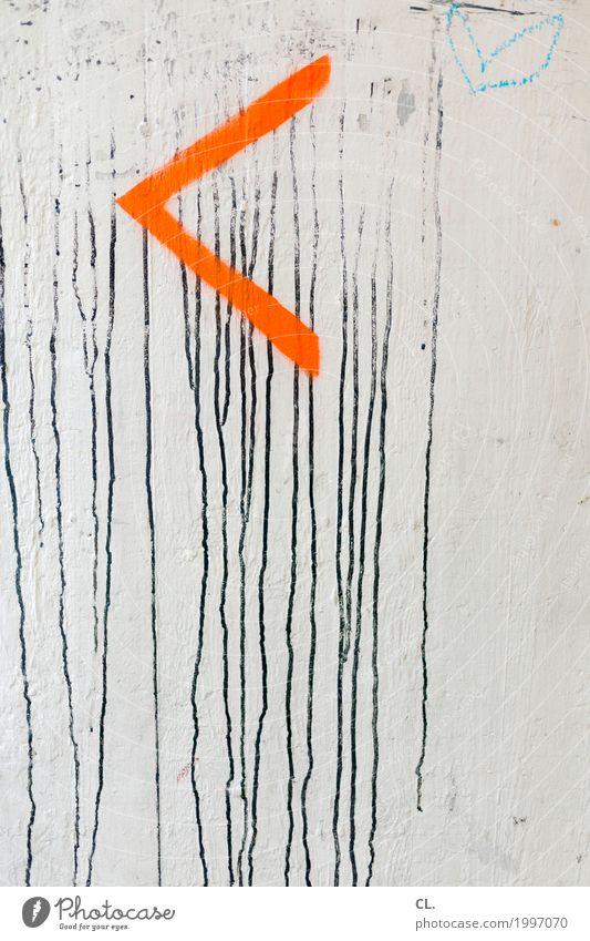 < Mauer Wand Zeichen Schilder & Markierungen Hinweisschild Warnschild Herz Pfeil dreckig orange schwarz weiß Farbe Wege & Pfade Orientierung Graffiti