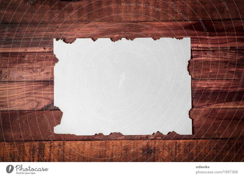 Weißes sauberes Blatt mit gebrannten Rändern Design Büro Business Papier Holz alt dreckig retro braun weiß Kreativität Oberfläche Page blanko Brief Rahmen