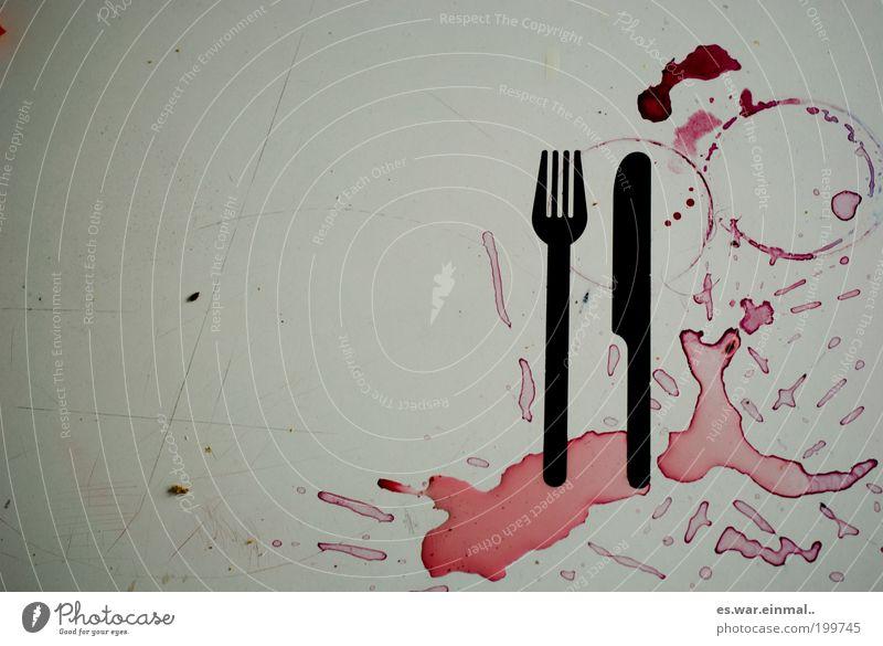 prost mahlzeit. rot Häusliches Leben dreckig Kreis Küche Wein graphisch Appetit & Hunger chaotisch Fleck Alkohol trashig Handwerk Lebensmittel Sucht Messer