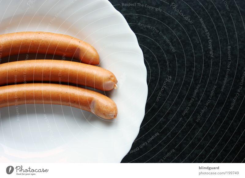 Heißer Dreier weiß Ernährung braun Lebensmittel elegant Kochen & Garen & Backen rund heiß lang Geschirr lecker Appetit & Hunger Teller Abendessen Mittagessen Wurstwaren