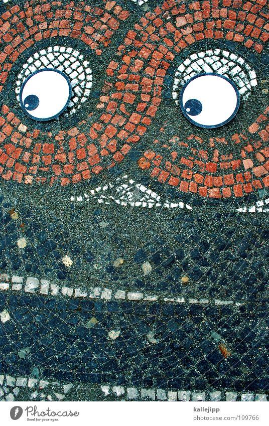 mosa icke Auge Mauer Wand Blick verrückt Mosaik Comic Farbfoto mehrfarbig Tag Porträt Design Bodenbelag Architektur