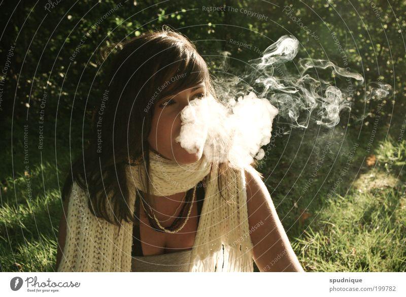 Rauchen fügt ihnen und ihrer Umgebung erheblichen Schaden zu Mensch Natur Jugendliche Wiese feminin Gefühle Erwachsene frei Rauchen Rauch Schönes Wetter Frau Porträt Schal Junge Frau