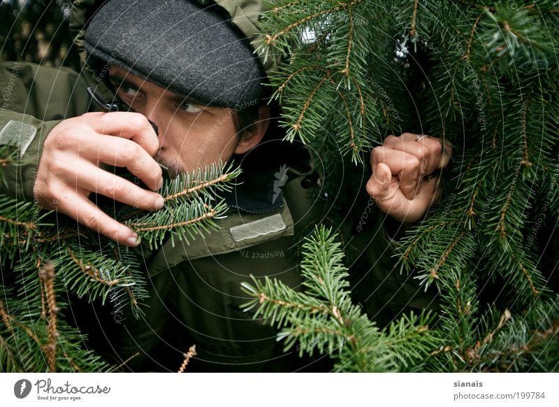 spitzel Mensch Mann grün Wald Angst Erwachsene maskulin beobachten geheimnisvoll Tanne Mütze verstecken böse Spannung Beruf Porträt