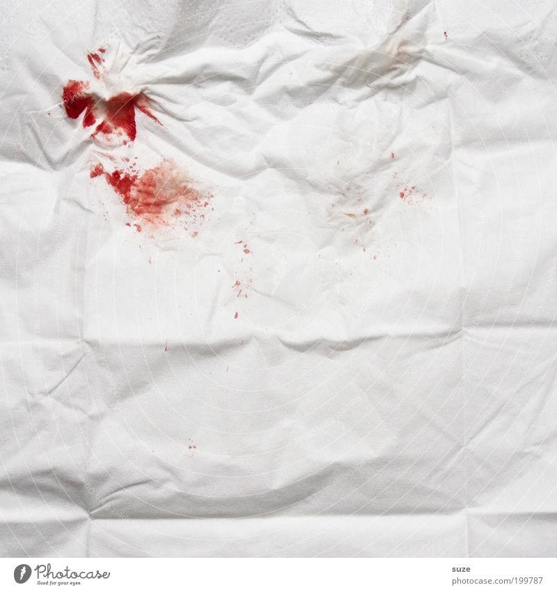 0, Rh-pos Blut Taschentuch Nasenbluten Blutfleck rot Schmerz weiß DNA Beweisstück Falte Hinweis dreckig