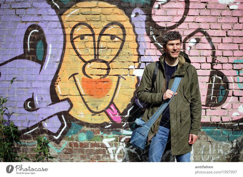 Smiley Design Freude Mensch maskulin Mann Erwachsene Freundschaft Leben Gesicht Arme 1 30-45 Jahre Jugendkultur Subkultur Graffiti Düsseldorf Stadtrand Mauer