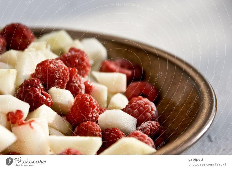 Frühstück ist fertig! schön weiß rot Ernährung Leben braun Gesundheit Lebensmittel Frucht süß Wellness Apfel lecker Frühstück genießen Teller
