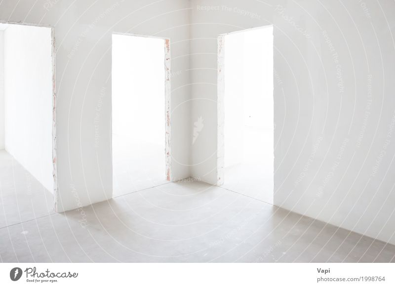 Weißer Raum mit 3 Eingängen weiß Haus Architektur Wand Innenarchitektur Gebäude Mauer Business Lampe grau Design Wohnung elegant modern Tür