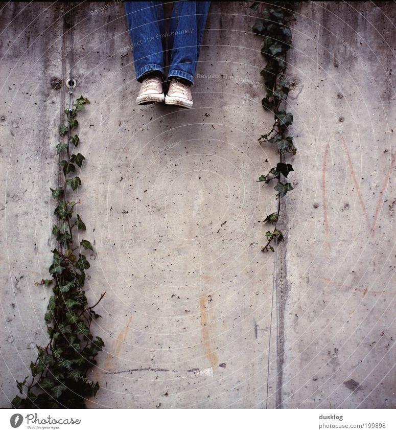 sitting, waiting, wishing Mensch alt Jugendliche Pflanze Erholung Wand grau Mauer Beine Park Fuß Zufriedenheit sitzen warten Wachstum Jeanshose